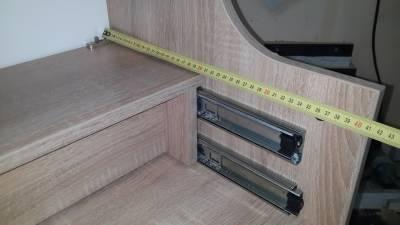 Размеры тумбы - правая стенка верхнего отсека тумбы для вязальной машины со сложенной выдвижной полкой