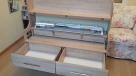 Вязальный стол с двумя ящиками, ящики открыты, цвет - дуб сонома